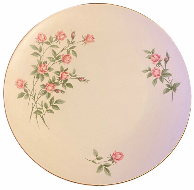 Edwin Knowles Sweetheart Rose Dinner Plate Gold Trim 10 1/4