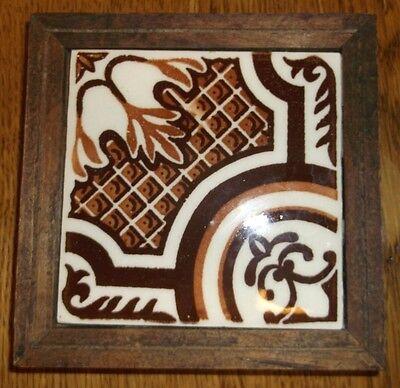 "Vintage Orion Monterry Mexico ceramic tile browns on white tile trivet 5.5"""