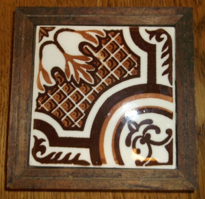 Vintage Orion Monterry Mexico ceramic tile browns on white tile trivet 5.5""