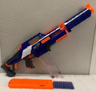 NERF Gun-N-STRIKE RAPIDSTRIKE CS-18 Blaster, 2 Ammo Clips 10 Darts & Barrel Ext