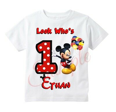 Custom MICKEY MOUSE t shirt  Personalize Birthday gift favor party t-shirt