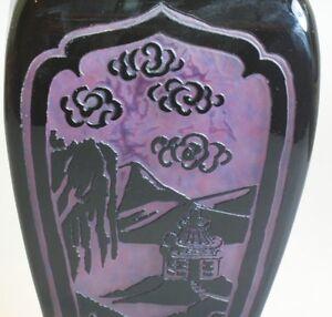 Spectacular-Rare-Steuben-Plum-Jade-Art-Glass-Lamp-c-1920-Chinese-Pagoda-vase