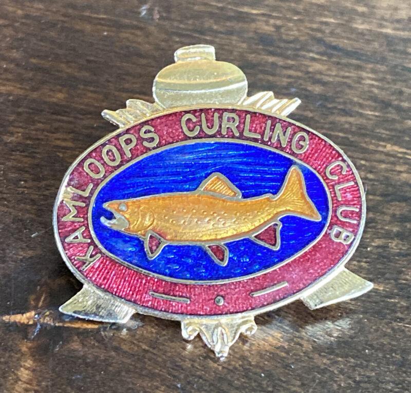 Vintage Kamloops Curling Club Pin British Columbia Canada