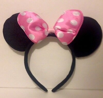 1-Minnie Mouse Pink Polka Dot Bow-Mickey Ears Headband Disney Costume Party Soft