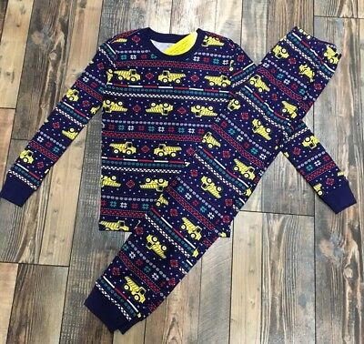 Gymboree Boys Holiday Fair Isle DUMP TRUCK Christmas pajamas NWT Blue Size 10 (Boys Holiday Pajamas)