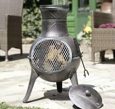 🔥 La Hacienda Panama Cast Iron & Steel Chiminea Wood Burner Fire Pit *FREE P&P*