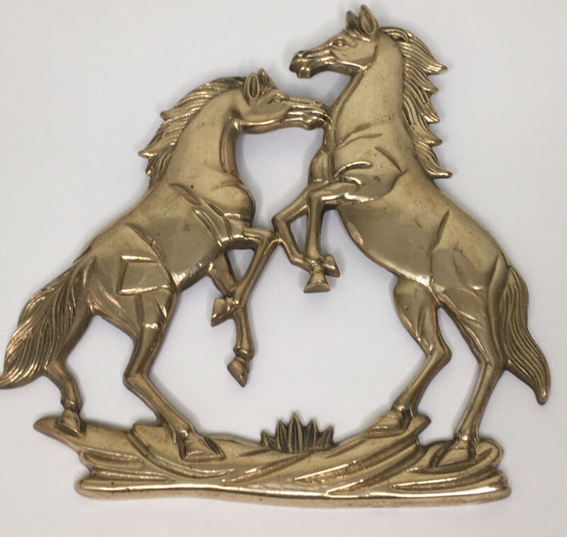 """Vintage Brass Horses Equestrian Hanging Wall Plaque 9"""" X 7"""""""