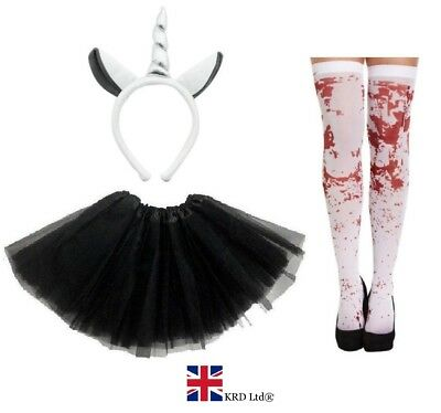 ZOMBIE GREY UNICORN COSTUME Ladies Kids Ghost Halloween Scary Fancy Dress NEW UK