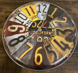 Wall Clock Metal Vintage License Plate Collection