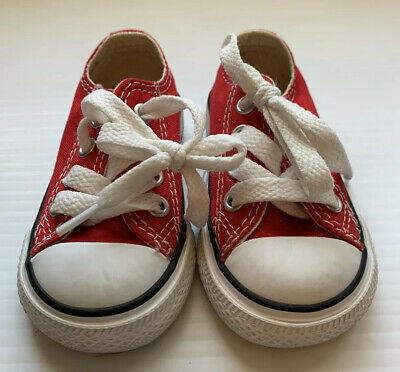 Converse Chuck Taylor All Star Red Baby Infant Girl Boy Shoes Size 3 Low Top Euc