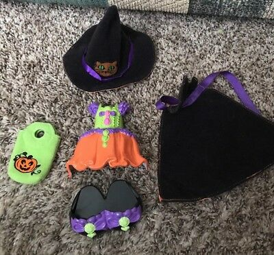 Fisher Price SNAP N STYLE Dolls RARE Halloween Witch Costume Hat Cape Dress