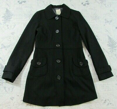 Tulle Anthropologie Black Wool Button Front Trench Coat Long Size L LARGE Long Black Wool Coat