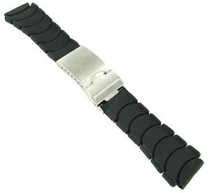 20mm Milano Black Rubber Stainless Steel Fold Over Buckle Safety Watch Band