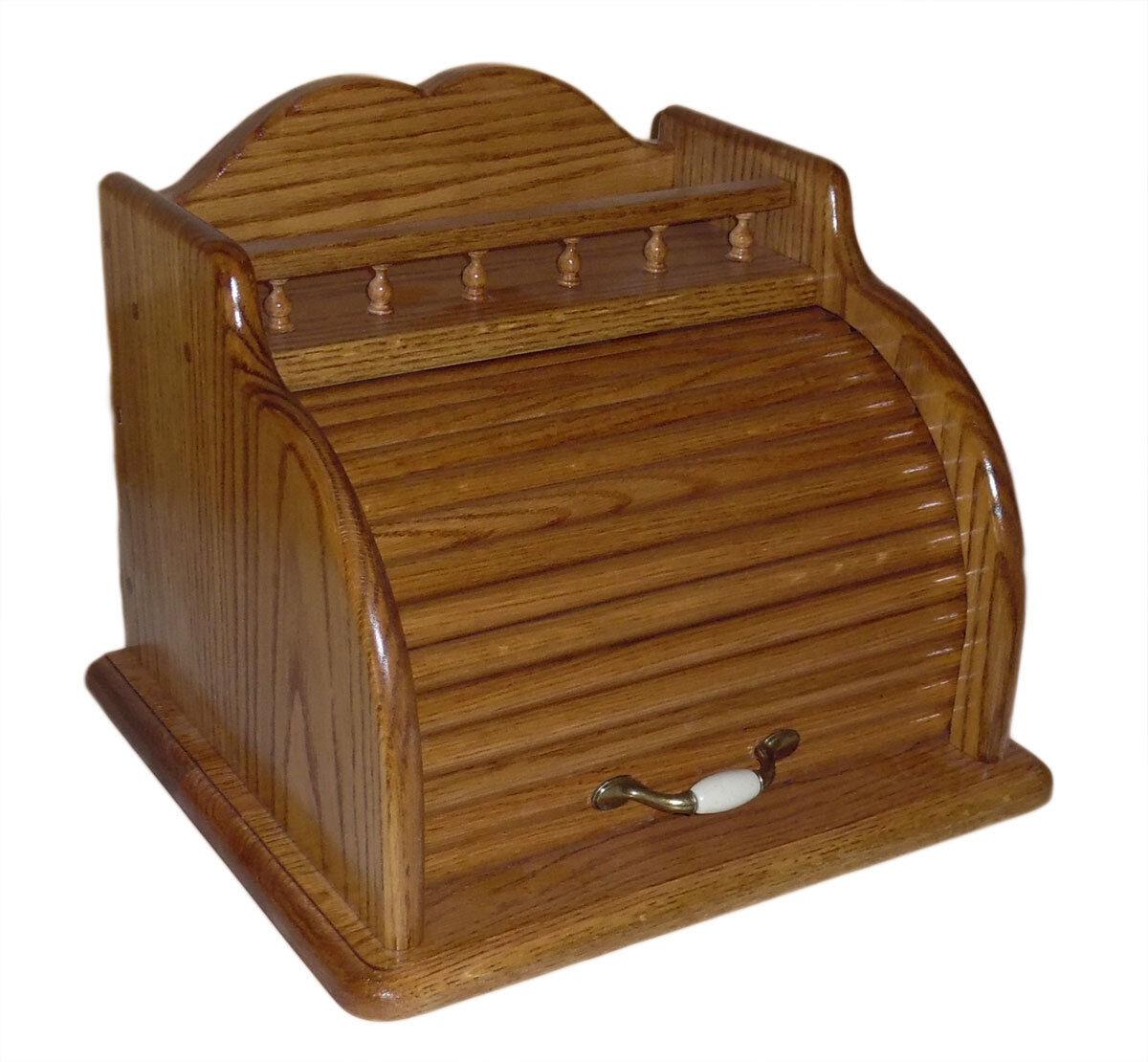 Roll Top Bread Box Golden Oak