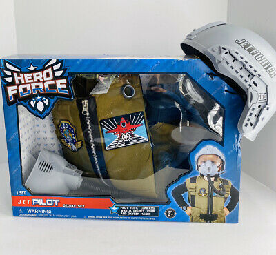 Hero Force Jet Pilot Deluxe Outfit Set Toy for Kids Costume Helmet Vest Top Gun