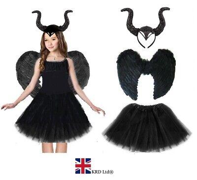 DARK DEVIL BLACK FAIRY COSTUME Feather Halloween Fancy Dress Outfit Party - Dark Fairy Fancy Dress Kostüm