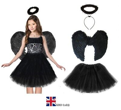 DARK ANGEL FAIRY COSTUME Feather Girls Halloween Fancy Dress Outfit Party Lot UK