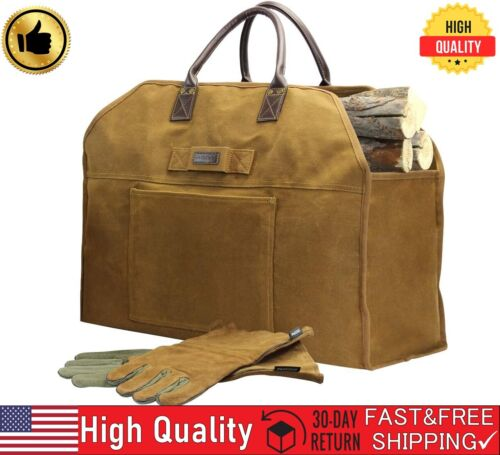 INNO STAGE Firewood Log Carrier Bag with Fireplace Pure Leather,Camping And such
