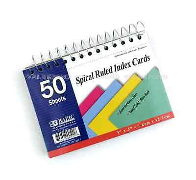 Bazic 50 Ct. Spiral Bound 3 X 5 Ruled Index Cards Assorted Neon Colors G03
