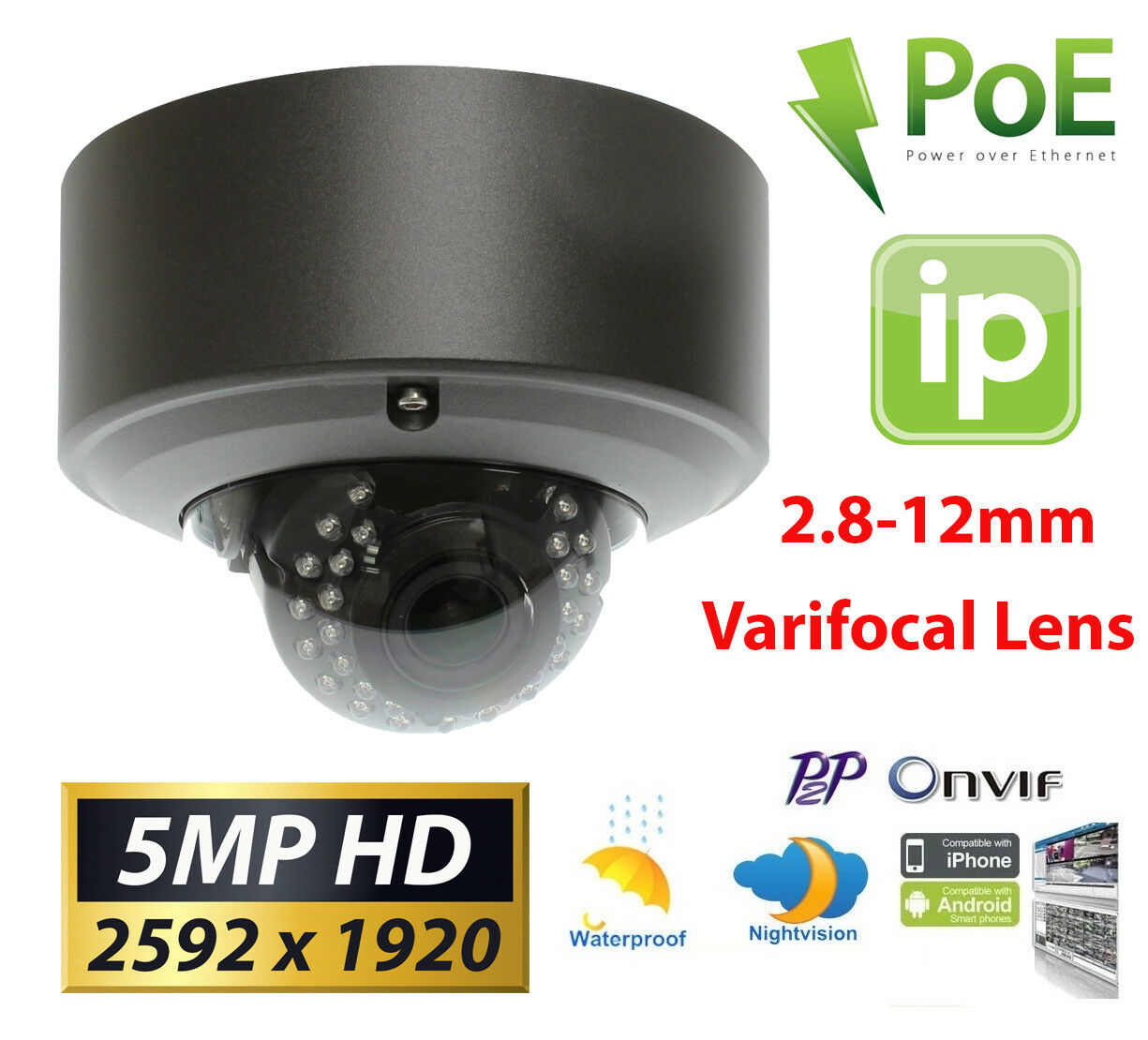 GW 5MP  1920P IP PoE Cam 2.8-12mm Varifocal Zoom Security Do