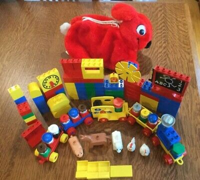 Vintage LEGO DUPLO Red Plush Bunny Rabbit Zippered Carrying Case with 111 Blocks