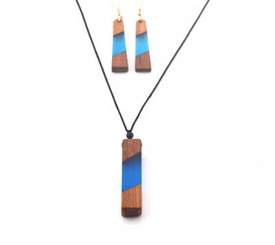Handmade Wood and Resin Necklace and Earring Set -blue Blue Handmade Resin