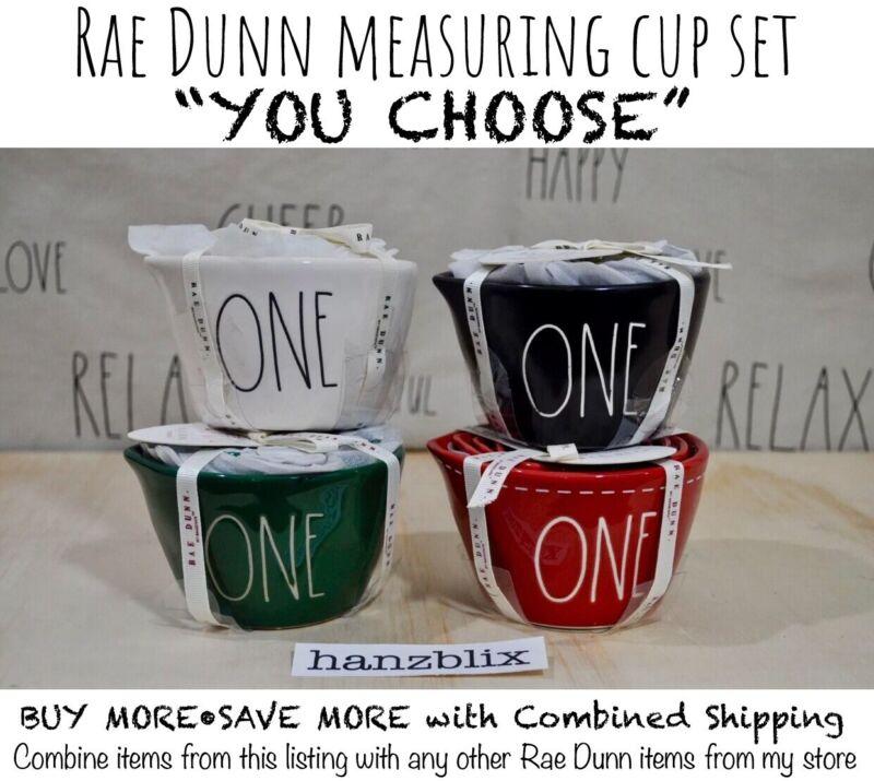 "Rae Dunn Measuring Cup Set Black White Red ONE HALF THIRD QUARTER ""U CHOOSE"""