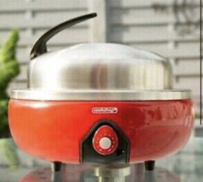 Cookshop Portable Charcoal BBQ Grill With Thermometer Lid & Bag - Red