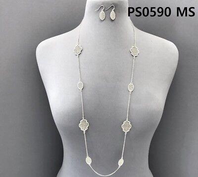 Matte Silver Finished Filigree Design Clover Oval Shape Necklace & Earrings Set (Shape Filigree Design)