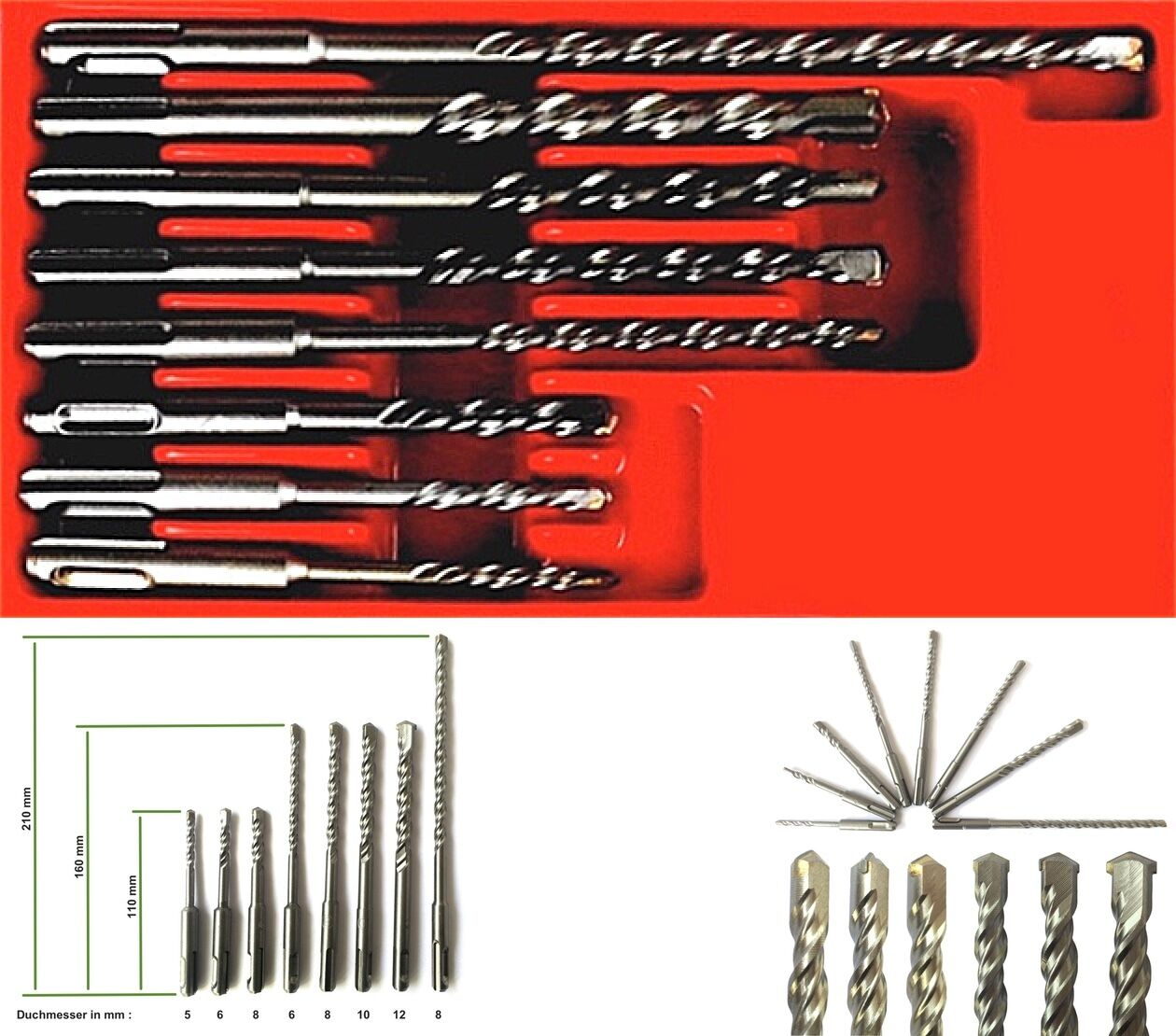 11-tlg Steinbohrer SDS-Plus Set Hammerbohrer Bohrhammer Betonbohrer Bohrer NEU