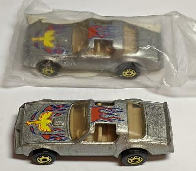 HOT WHEELS SILVER HOT BIRD WITH FLAMES SET OF TWO FROM CEREAL PROMO