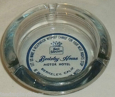 Best Western Ashtray Berkeley House Motor Hotel Glass 4  Vtg Ash Tray