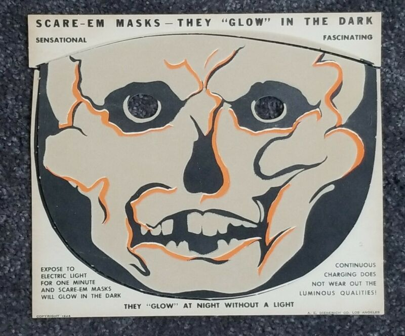 Vintage Halloween Cardboard Diecut Skeleton Mask Glow in Dark 1946 1940s USA