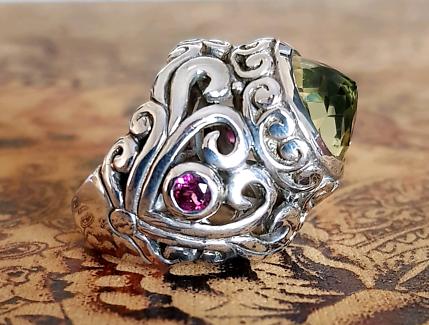 DIVINE Citrine & Pink Tourmaline Ring, Sterling Silver, Sz: 6 3/4