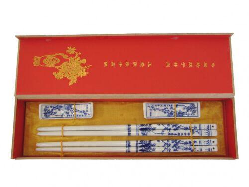 Gift Set of Blue Plum Flower Porcelain Chinese Chopsticks