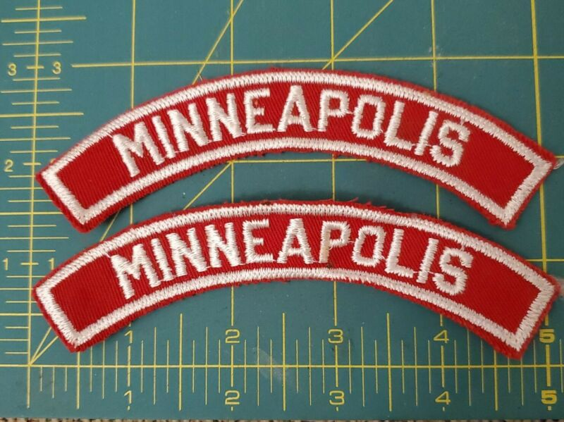 """Two -  Minneapolis Sew On Shoulder Patch 5"""" Red and White"""
