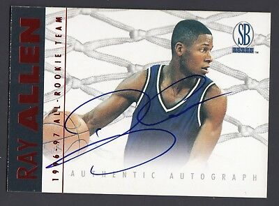 Ray Allen 1996-97 Score Board All Rookie Team On Card Autograph Card UCONN Ray Allen Teams