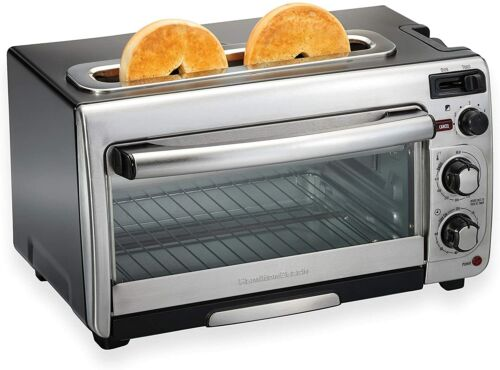 Hamilton Beach 2-in-1 Countertop Oven and Long Slot Toaster, Stainless Steel, 60