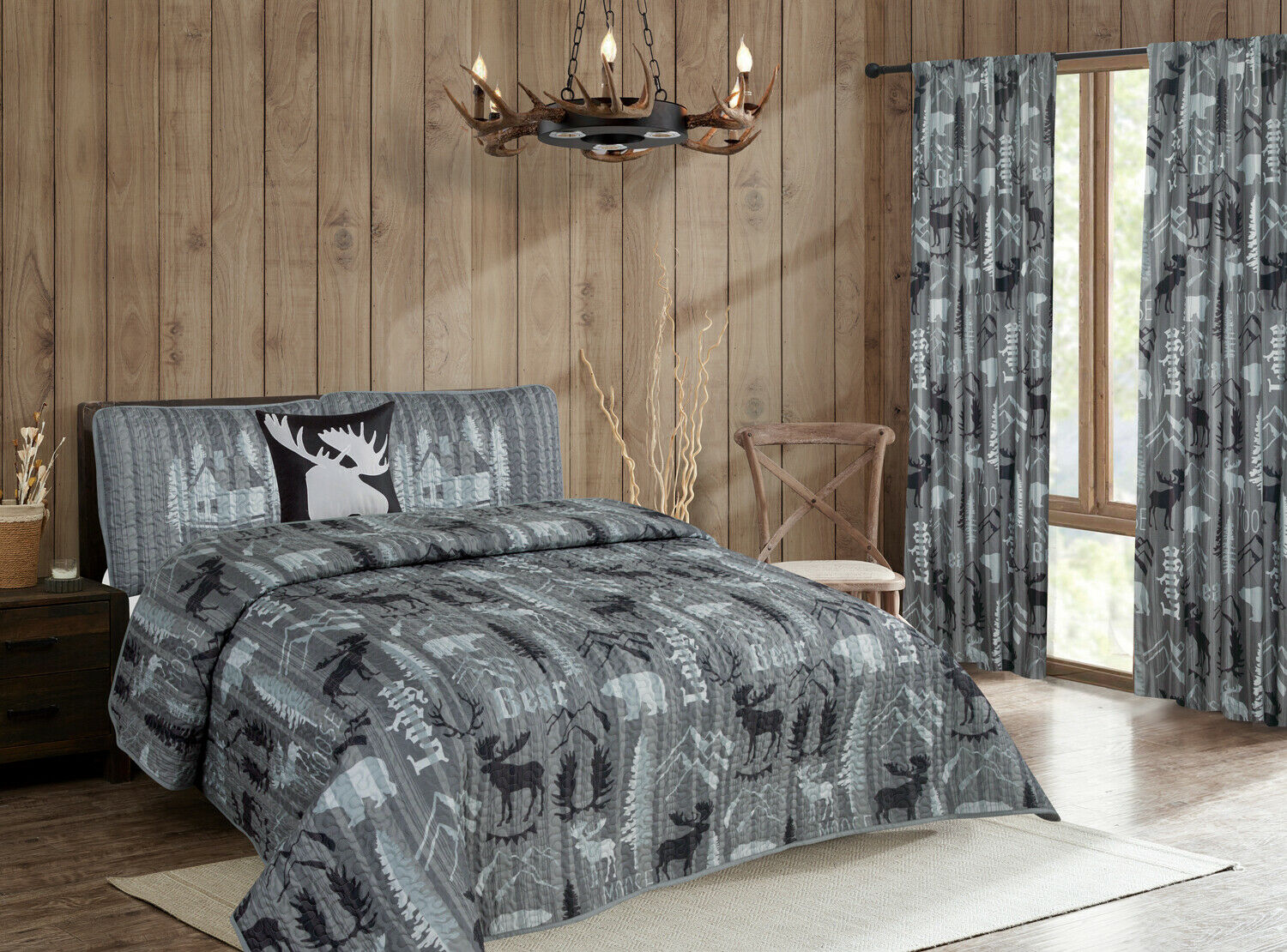 Rustic Mountain Lodge Quilt Bedding Set Cabin Woods Moose Bear, Black and Grey Bedding