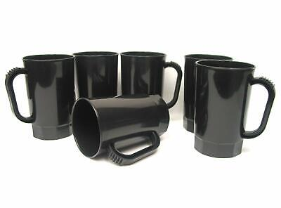 10 Plastic Beer Stein, 1 Pint 16 Ounce, Black, New