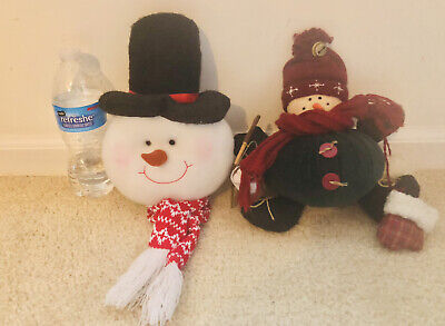 SNOWMAN Lot Of 2 Plush Holiday Christmas Decoration Decor Tree Topper Ornament
