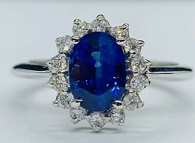GIA 2.5 Ct Royal Blue Ceylon Sapphire & D VS1 Diamond Ring 14K White Gold -