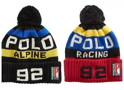 Polo Ralph Lauren Ski Hat Alpine or Racing Pom Pom Ski Cuffed Skull Beanie Cap Alpine Knit Hat
