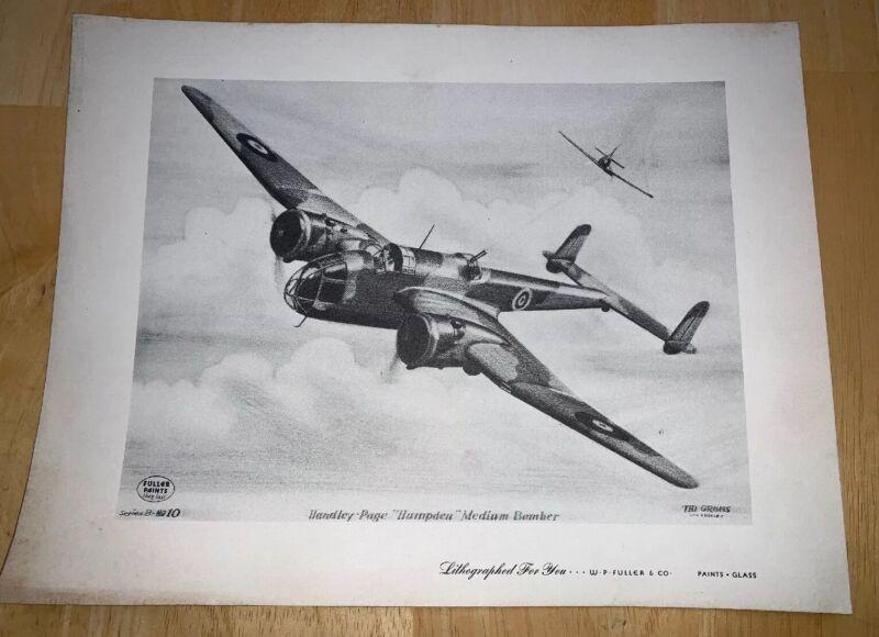 "Grohs Lithograph Handley-Page ""Hampden"" Medium Bomber W P Fuller Paints"