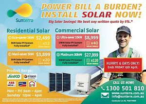5kW Solar System $3899, Fully Installed!! West Perth Perth City Area Preview
