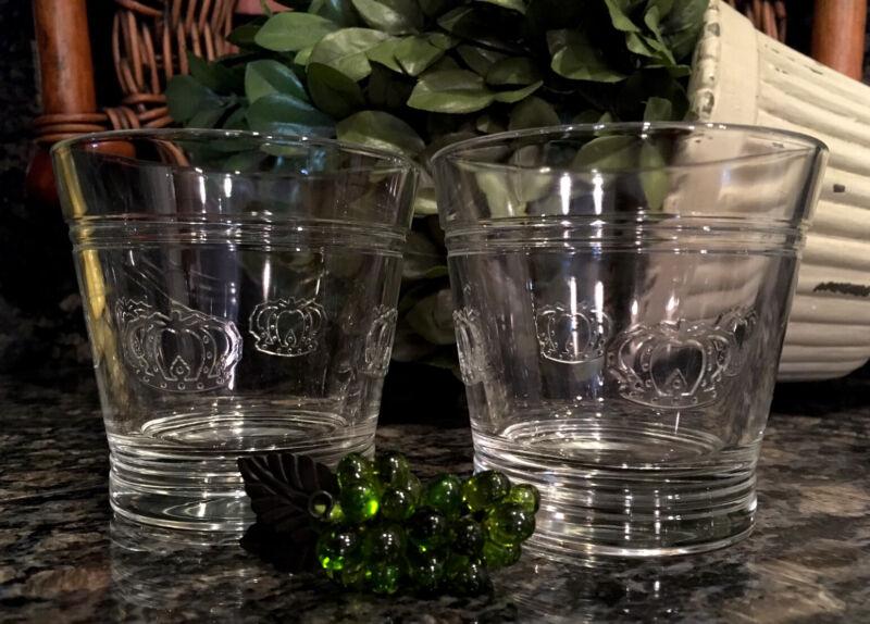 RARE Vintage CROWN ROYAL Embossed 4 Crown Rocks Glasses (2) ITALY ~ PRISTINE!