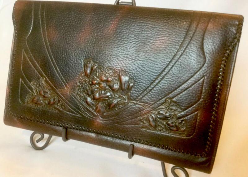 EXQUISITE Antique ART NOUVEAU Tooled JUSTIN Leather CLUTCH  Purse EUC