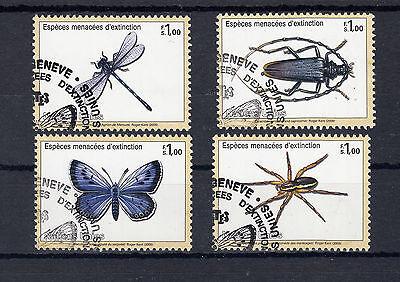 5015 ) UN Genf 2000 - Endangered Species Large Blues, Big Oak Bock, Water Spider Big Blue Weltweit