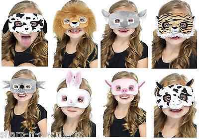 Girls Boys Fur Animal Lion Pig Tiger Dog Rabbit Mask Fancy Dress Up Kit Costume
