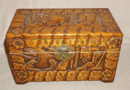 LARGE VINTAGE HAND-CARVED WOODEN SAILOR'S GOOD LUCK CHEST / BOX